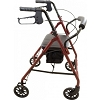 Roscoe Medical Basic Steel Rollator with Padded Seat Burgundy