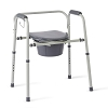 Medline Steel 3-in-1 Bedside Commode, Portable Toilet with Microban Antimicrobial Protection, Can be Used as Raised Toilet Seat Riser, Gray