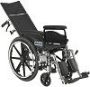 Drive Medical Viper Plus GT Full Reclining Wheelchair, Detachable Full Arms, 18