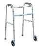 "Deluxe Folding Walker with 5"" Front Wheels Height Adjustable One Button Release by Tulimed"