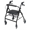 Lumex Walkabout Wide Four-Wheel Rollator Black