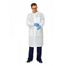 Multilayer Disposable Lab Coat with Knit-Cuffs, White